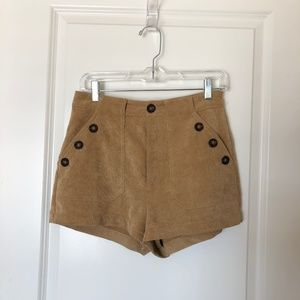 Corduroy Shorts with Button Detail
